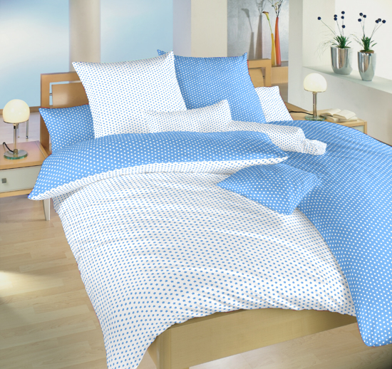 Obrázek z Povlečení bavlna Hvězdička bílá/světle modrá DUO 140x220, 70x90 cm