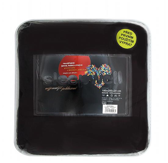 Obrázek z Prostěradlo mikroflanel černá 180x200x20 cm