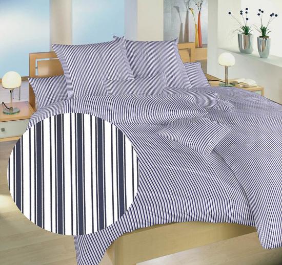 Obrázek z Povlečení bavlna Proužky modré 140x200, 70x90 cm