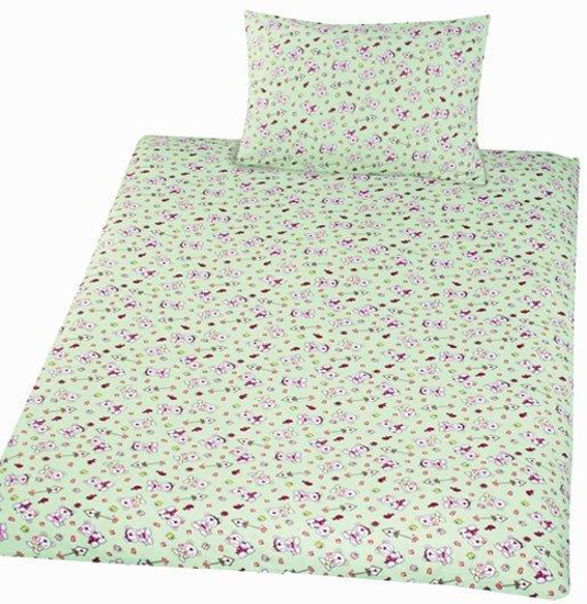 Obrázek z Povlečení bavlna do postýlky Méďa krmítko zelená 90x130, 45x60 cm