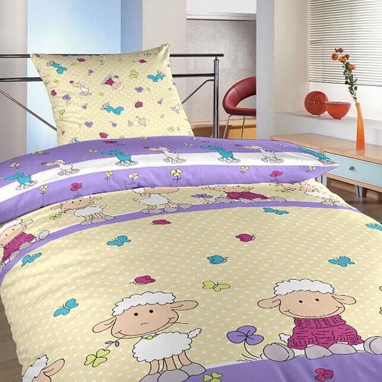 Obrázek z Povlečení bavlna do postýlky Ovečky velké fialové 90x130, 45x60 cm