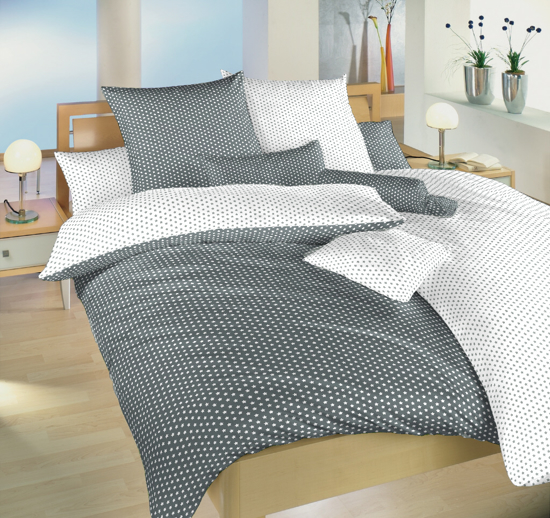 Obrázek z Povlečení bavlna Hvězdička bílá/šedá DUO 140x220, 70x90 cm