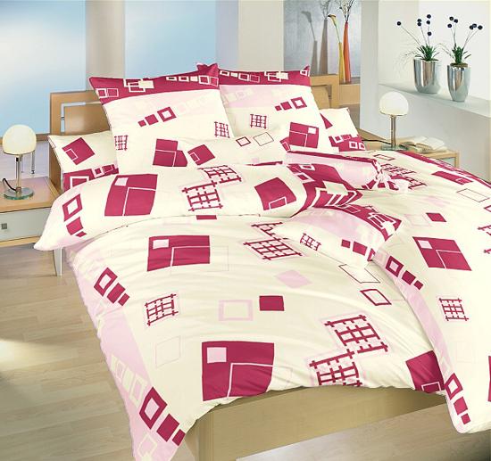Obrázek z Povlečení bavlna Svět kostek růžový 140x200, 70x90 cm