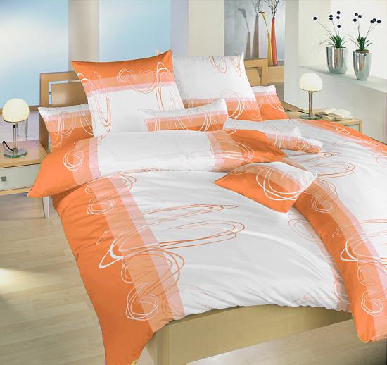 Obrázek z Povlečení bavlna Smyčky oranžové 140x220, 70x90 cm