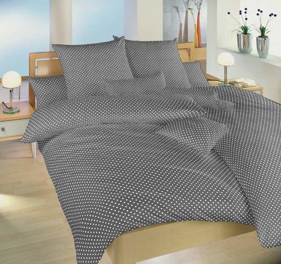 Obrázek z Povlečení bavlna Puntík bílý na šedém 140x220, 70x90 cm