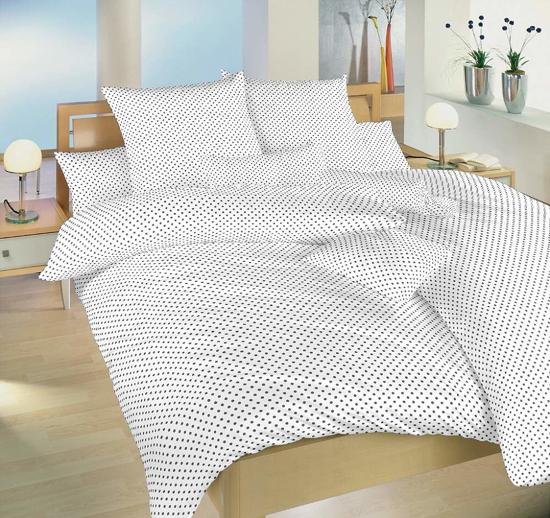 Obrázek z Povlečení bavlna Puntík šedý na bílém 140x220, 70x90 cm
