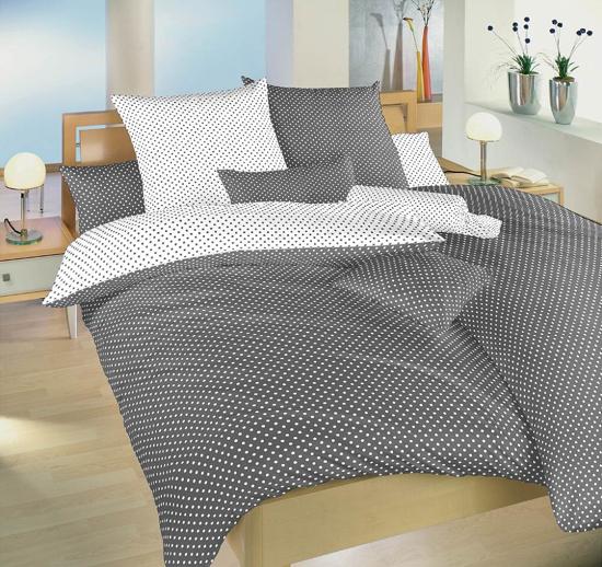 Obrázek z Povlečení bavlna Puntík bílý/šedý DUO 140x220, 70x90 cm