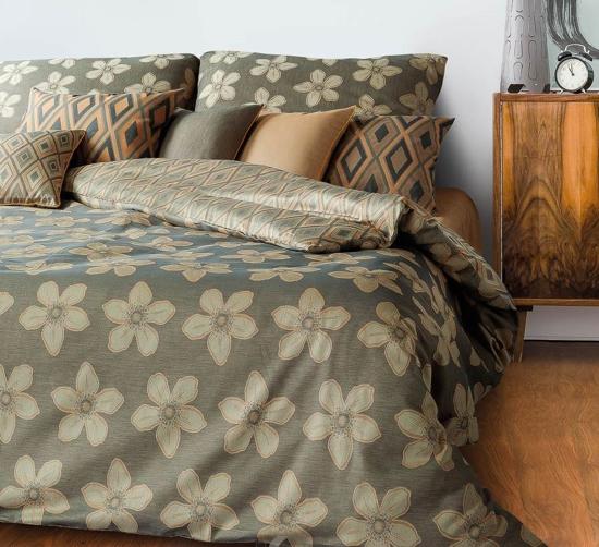 Obrázek z Povlečení Grace Primavera Květy sasanek šedožlutá 140x200, 70x90 cm