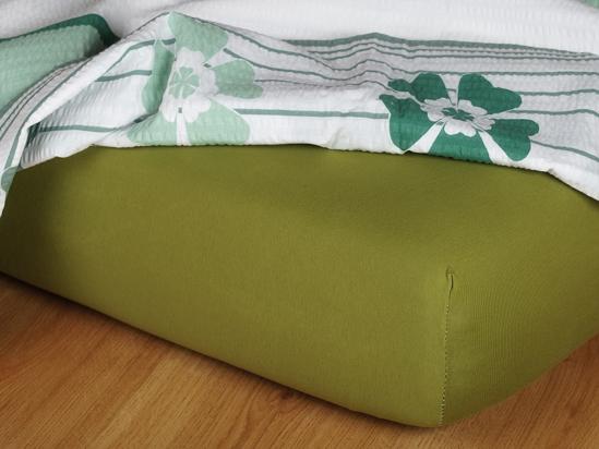 Obrázek z Jersey prostěradlo olivové 90x220x18 cm II.jakost
