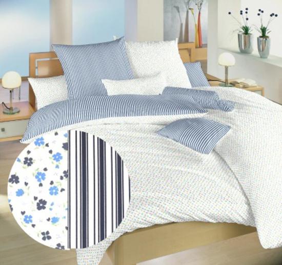 Obrázek z Povlečení bavlna Květinky modré/Proužky modré