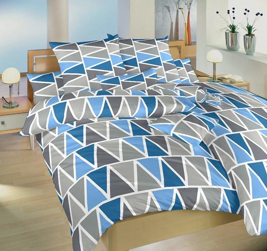 Obrázek z Povlečení bavlna Trojúhelníky modré 140x200, 70x90 cm II.jakost