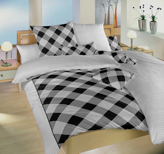 Obrázek z Povlečení bavlna Káro/Linea černá DUO 140x200, 70x90 cm