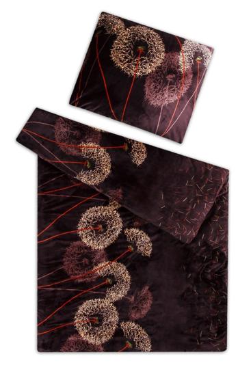 Obrázek z Povlečení mikroflanel Pampeliška čokoláda 140x200 90x70 cm