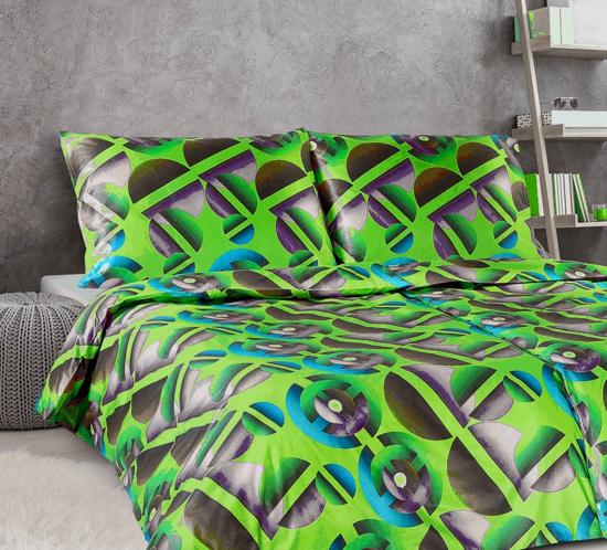 Obrázek z Povlečení damašek Apollo Zelená geometrie 135x200, 70x90 cm
