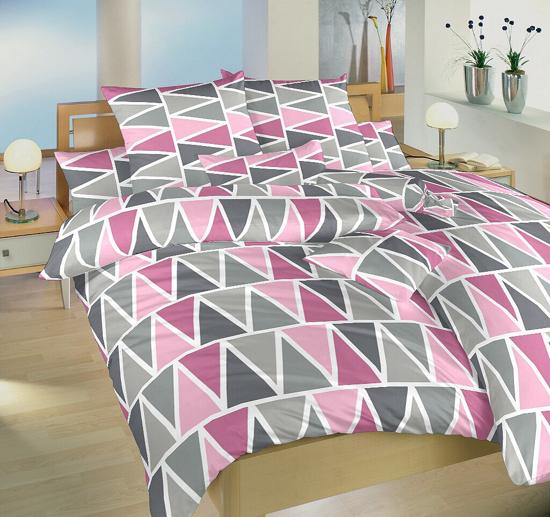 Obrázek z Povlečení bavlna Trojúhelníky růžové 200x200, 2x 90x70 cm Nestandard