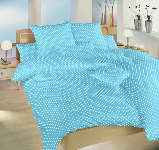Obrázek z Povlečení bavlna Puntík bílý na světle modrém 140x200, 70x90 cm