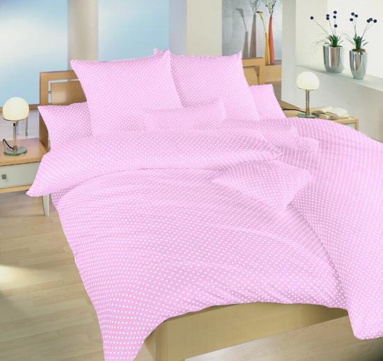 Obrázek z Povlečení bavlna Puntík bílý na růžovém 140x220, 70x90 cm