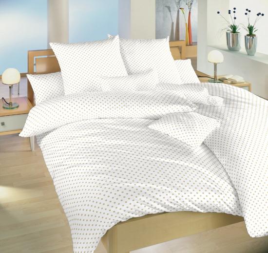 Obrázek z Povlečení bavlna Puntík béžový na bílém 140x220, 70x90 cm