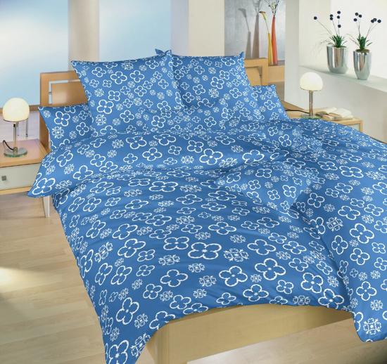 Obrázek z Povlečení bavlna Čtyřlístek bílý na denimu 140x220, 70x90 cm
