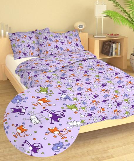 Obrázek z Povlečení krep do postýlky Kočky fialové 90x130, 60x45 cm