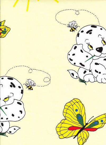 Obrázek z Povlečení krep do postýlky Pejsek s motýlem žluté 90x130, 45x60 cm
