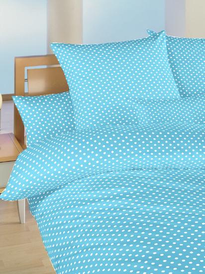 Obrázek z Povlečení bavlna do postýlky Puntík bílý na světle modrém 90x130, 45x60 cm