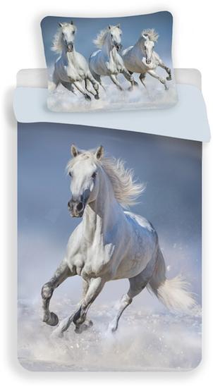 Obrázek z Povlečení fototisk Horses white 140x200, 70x90 cm