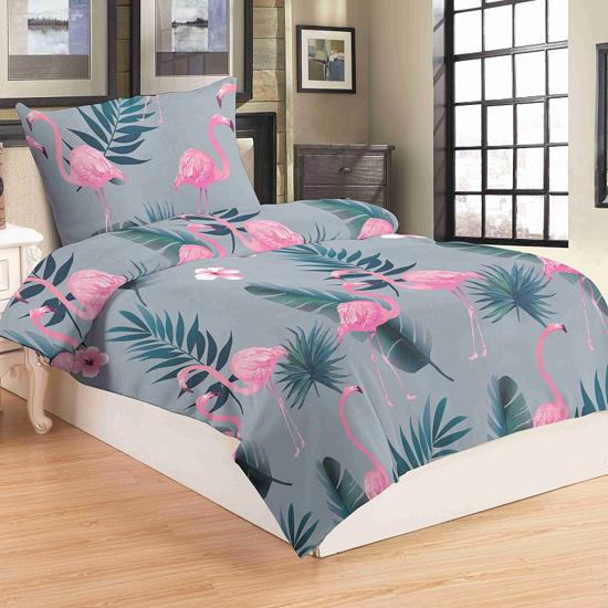 Obrázek z Povlečení mikroflanel Flamingo grey 140x200, 70x90 cm