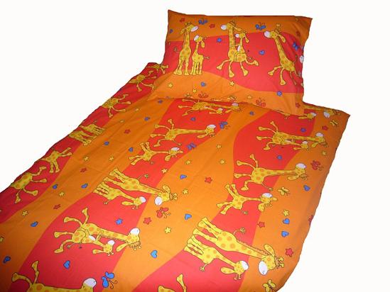 Obrázek z Povlečení bavlna Žirafa červená 90x130, 45x60 cm II.jakost