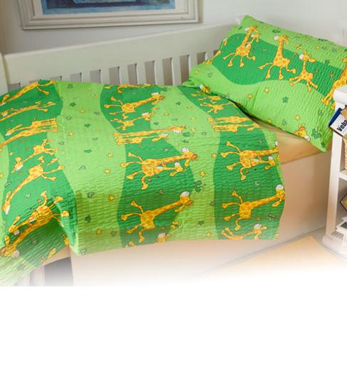 Obrázek z Povlečení bavlna Žirafa zelená 90x130, 45x60 cm II.jakost