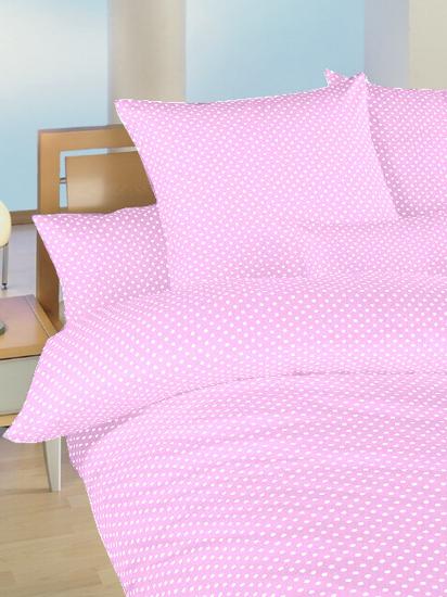 Obrázek z Povlečení bavlna Puntík bílý na růžovém 90x130, 45x60 cm II.jakost