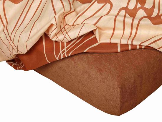 Obrázek z Froté prostěradlo 110x200x15 cm nugátové II.jakost