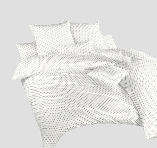 Obrázek z Povlečení krep Puntík opál na bílém 240x200, 2x70x90 cm