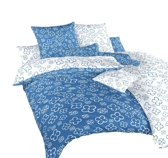 Obrázek z Povlečení bavlna Čtyřlístek bílý/denim DUO 140x200, 70x90 cm