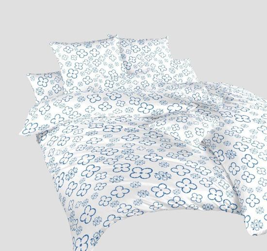 Obrázek z Povlečení bavlna Čtyřlístek denim na bílém 140x200 cm povlak