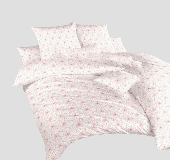 Obrázek z Povlečení bavlna Krystal losos na bílém 240x200, 2x70x90 cm