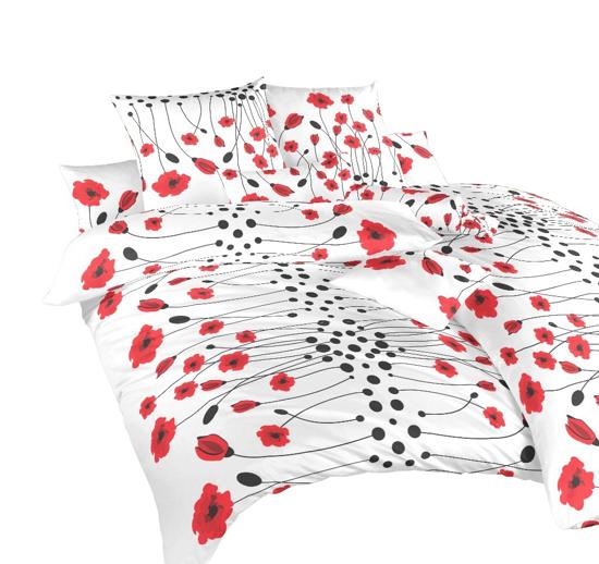 Obrázek z Povlečení bavlna Vlčí máky červené 240x200, 2x70x90 cm