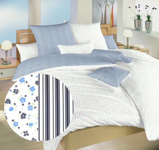 Obrázek z Povlečení bavlna Květinky modré/Proužky modré 40x50 cm povlak