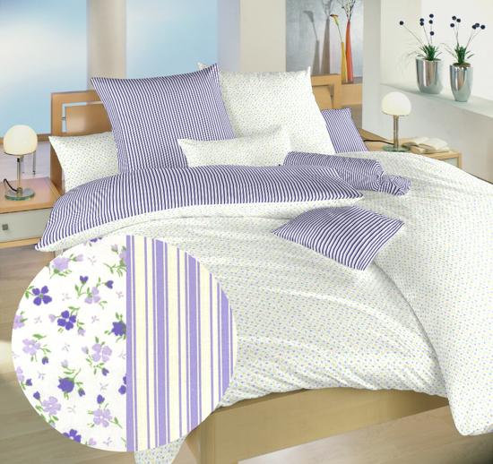 Obrázek z Povlečení bavlna Květinky fialové/Proužky fialové 140x220, 70x90 cm