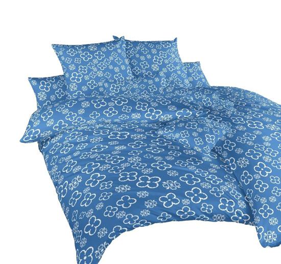 Obrázek z Povlečení bavlna Čtyřlístek bílý na denimu 140x200, 70x90 cm