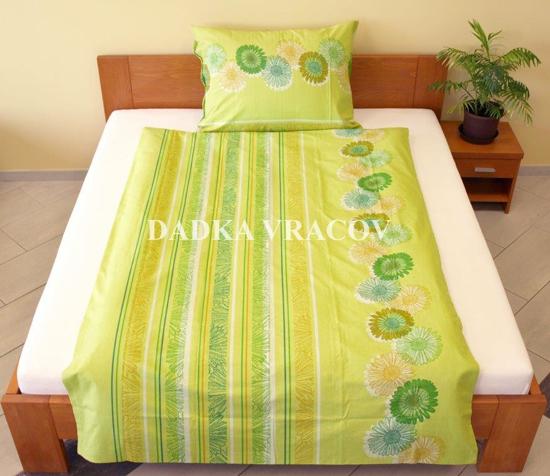 Obrázek z Povlečení bavlna Sedmikrásky zelené 140x200, 70x90 cm II.jakost