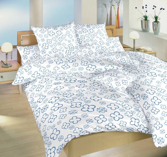 Obrázek z Povlečení bavlna Čtyřlístek denim na bílém 140x200, 70x90 cm II.jakost