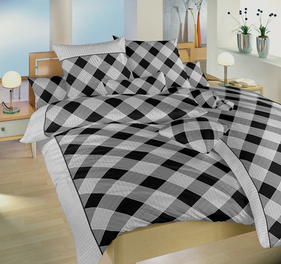 Obrázek z Povlečení bavlna Káro černé 140x200, 70x90 cm II.jakost