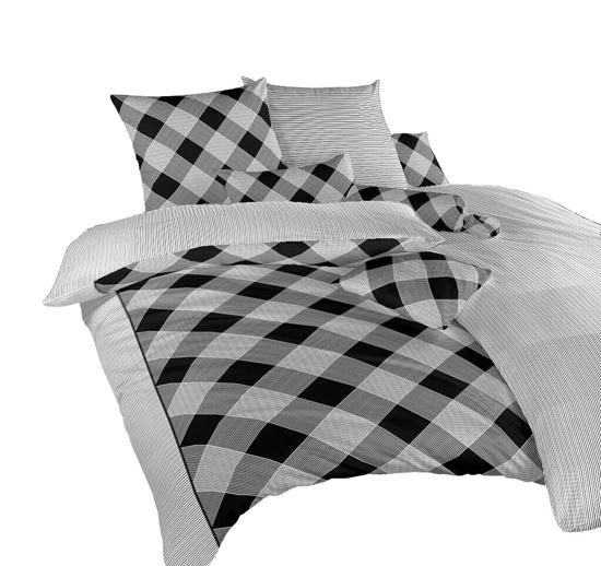 Obrázek z Povlečení bavlna Káro/Linea černá 140x200, 70x90 cm II.jakost