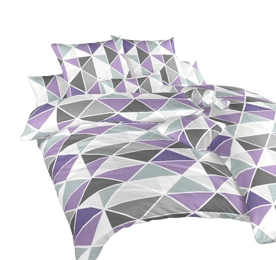 Obrázek z Krepové povlečení Pyramidy fialové 200x200, 2x70x90 cm II.jakost