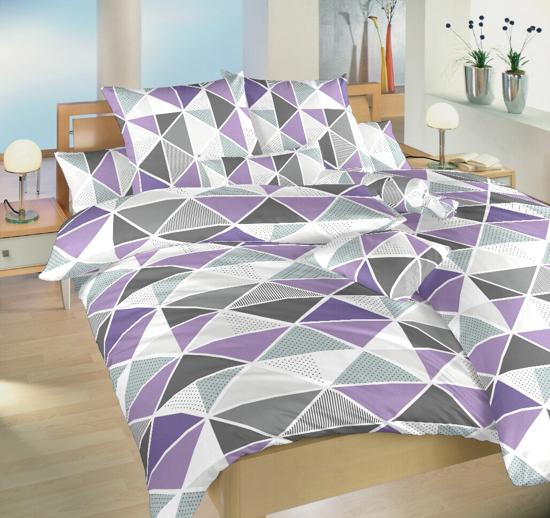 Obrázek z Krepové povlečení Pyramidy fialové 140x200, 70x90 cm II.jakost