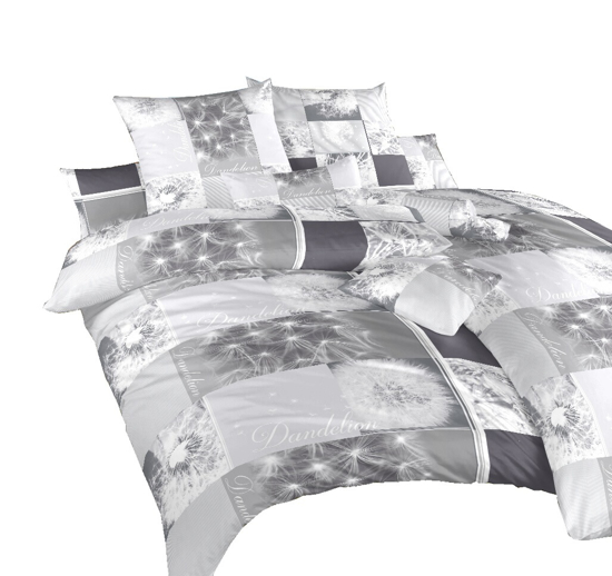 Obrázek z Povlečení krep Pampelišky 3D šedé 140x220, 70x90 cm