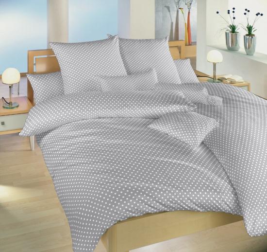 Obrázek z Krepové povlečení Puntík bílý na šedém 140x200, 70x90 cm II.jakost