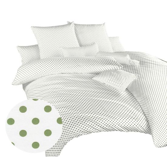 Obrázek z Povlečení bavlna Puntík zelený na bílém 140x200, 70x90 cm