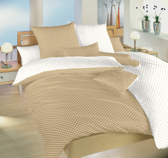 Obrázek z Povlečení bavlna Puntík bílý/béžový DUO 140x200, 70x90 cm